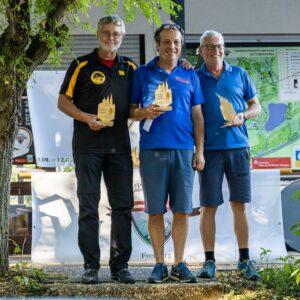 drei Discgolfer: George Braun, Peter Hennecke und Rudolf Haag